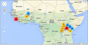 The map shows the locations where BitGive's Water Project has had an impact.