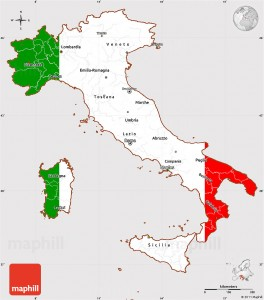 map of Italy, flag centered.