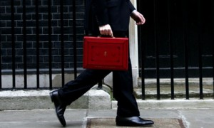 chancellor with red budget briefcase