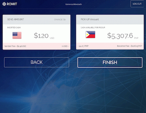 Screenshot of remittance using Romit - Bitcoinist.net