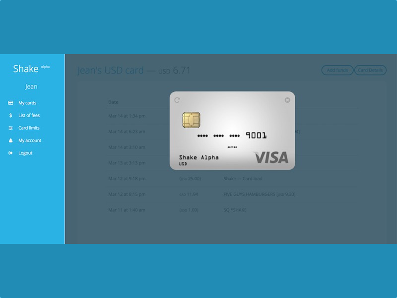 Shake VISA debit card