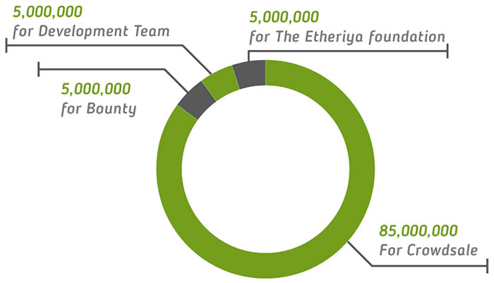 Etheriya (RIYA) token distribution