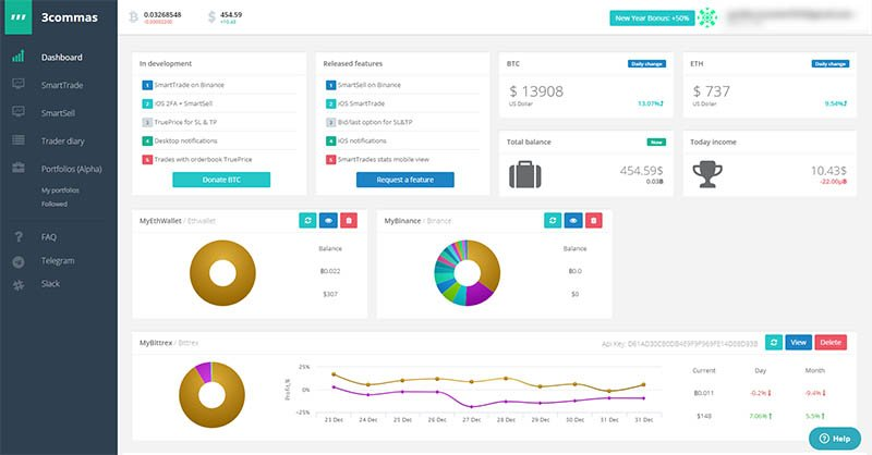 Tools and Features - 3Commas Dashboard