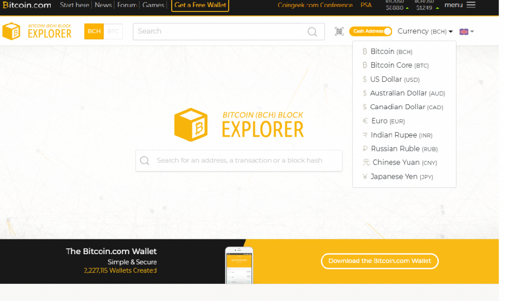 Bitcoin.com block explorer