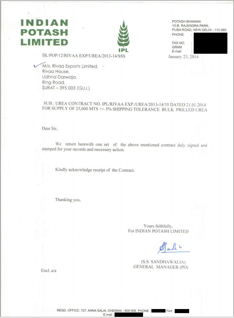 IPL Rivaa UREA Contract - ALL Contact Details Removed