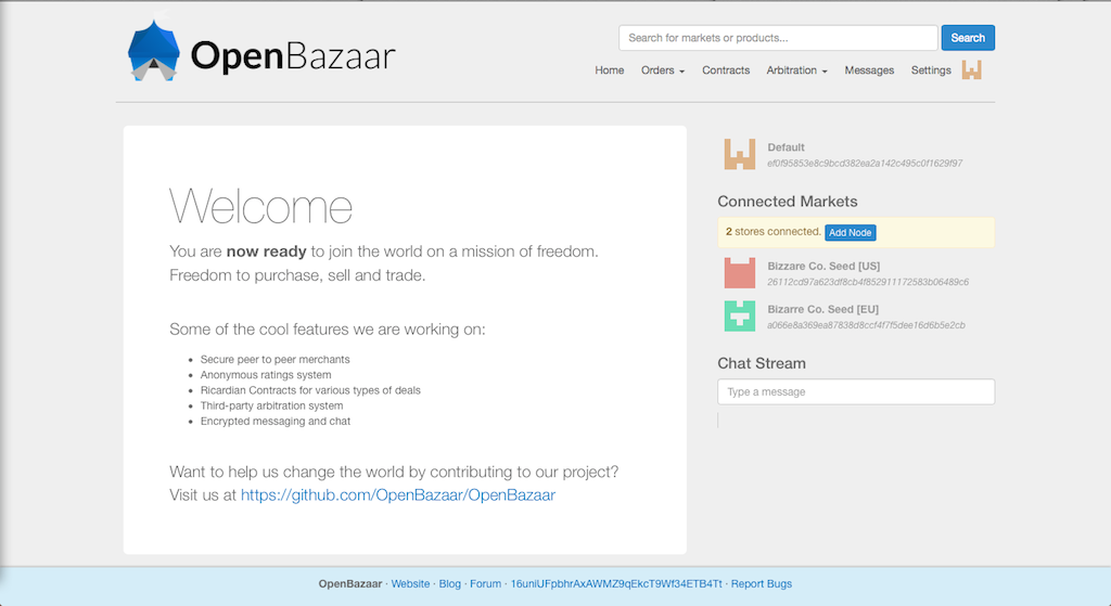 Homepage of the OpenBazaar Beta 1.0 marketplace.