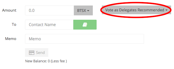 Figure 2. Screenshot of BitSharesX transaction with up-voting interface circled in red.