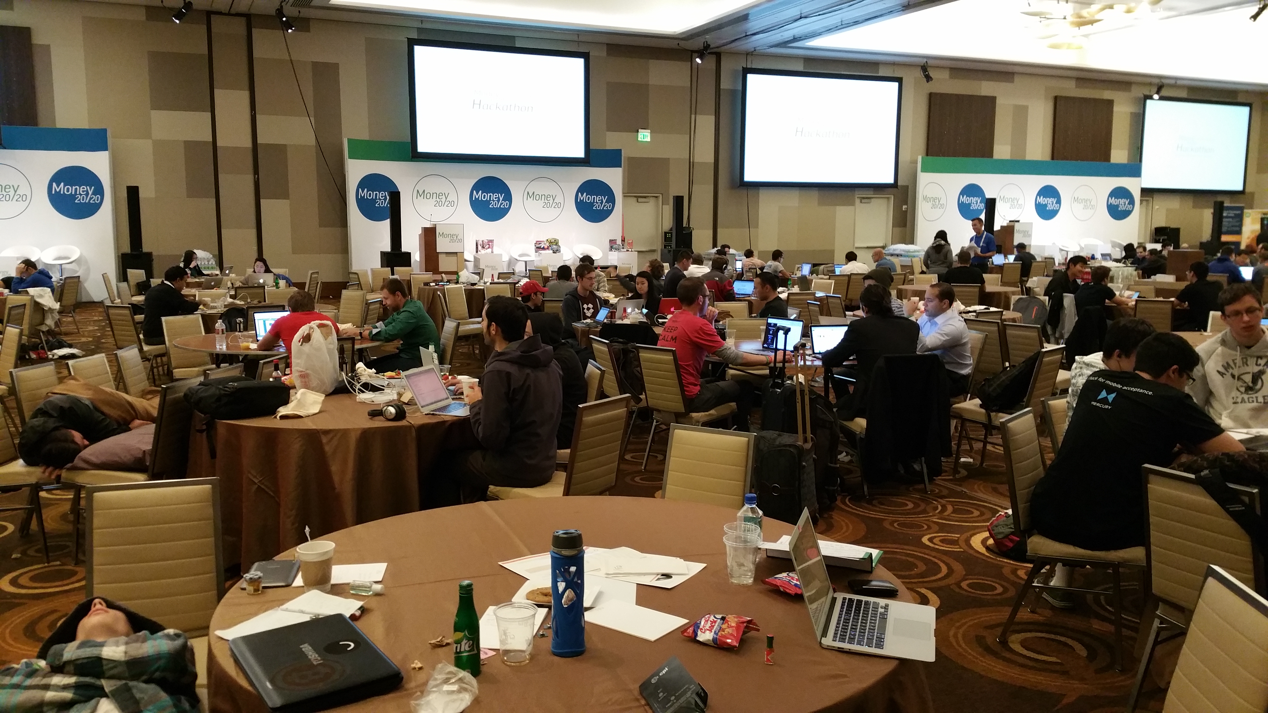 Money 2020 Hackathon participants still hard at work with 3 hours of code left.