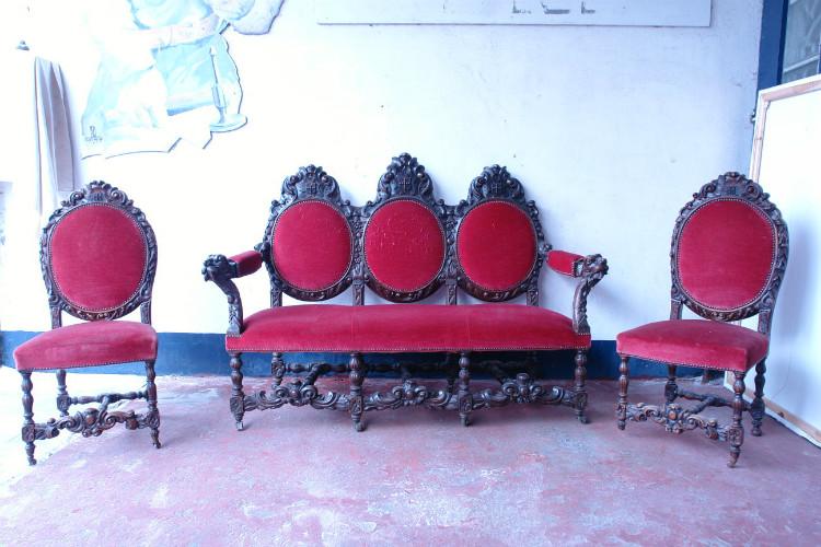 Set of Antique chairs. Oak, 1870-1900's