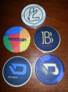 Litecoin, Reddcoin, Blackcoin and Darkcoin Poker Chips