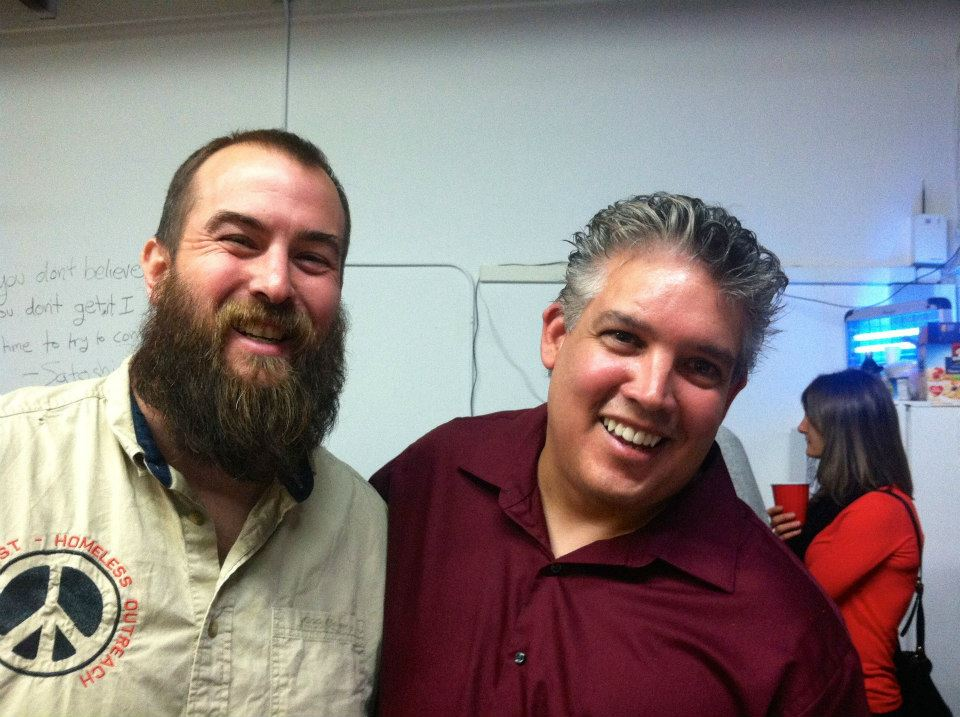 Founder of Sean's Outpost Jason King (left) at the Denver Bitcoin Center Grand Opening Party.