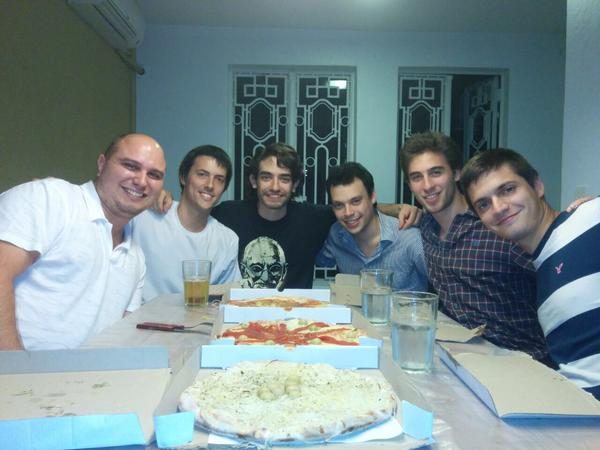 Streamium Team enjoying pizza after their first day of launch - via Twitter @streamium_io