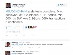 A cached Twitter post from Craig Wright