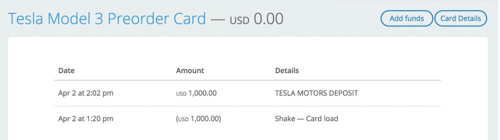 Mason Borda's Shake Tesla Receipt