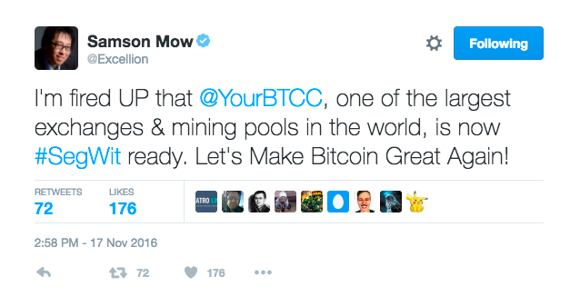 Samson Mow SegWit tweet