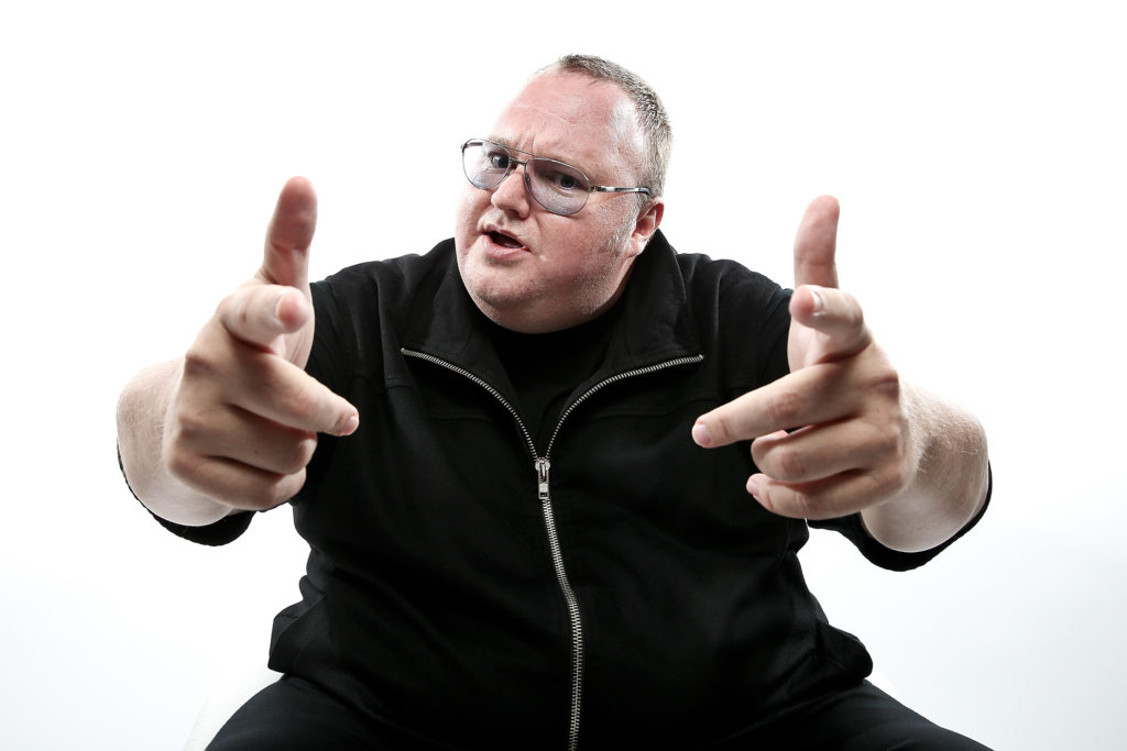 AUCKLAND, NEW ZEALAND - APRIL 26: (EXCLUSIVE COVERAGE) MEGA Limited founder, Kim Dotcom poses during a portrait session at the Dotcom Mansion on April 26, 2013 in Auckland, New Zealand. MEGA Limited this year launched cloud storage service 'Mega.co.nz', the successor to the controversial file sharing service 'Megaupload.com' shut down by the US Department of Justice in January 2012. (Photo by Hannah Johnston/Getty Images)