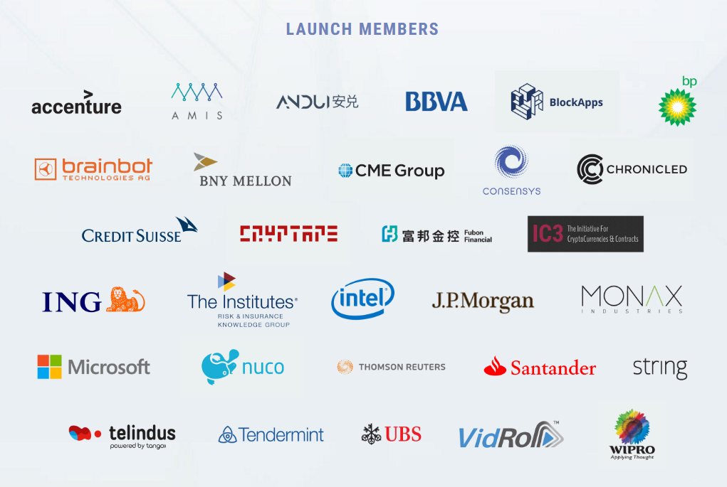 Enterprise Ethereum Alliance (EEA) launch members