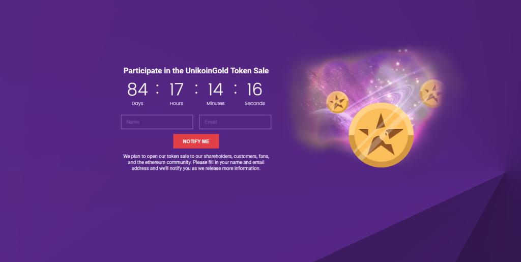 UniKoinGold Token Sale