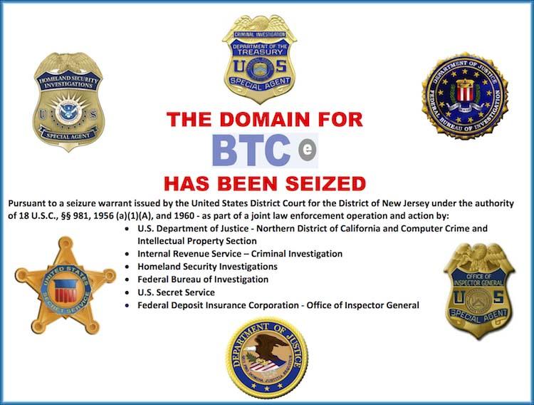 BTC-e Website Siezed by U.S. Federal Agencies