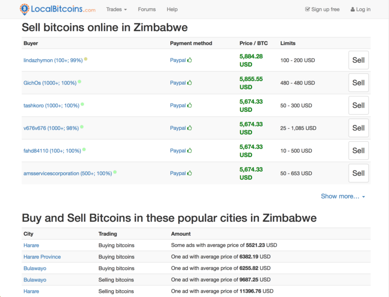 Selling Bitcoin on LocalBitcoins Zimbabwe