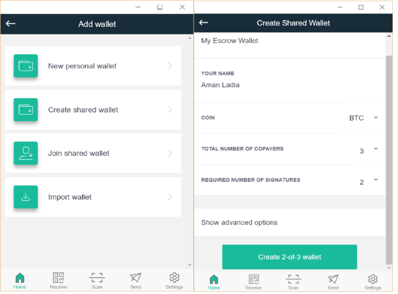 Step 3: Create a Shared CoPay Wallet