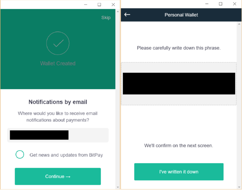 Step 2: Start by setting up your personal CoPay wallet