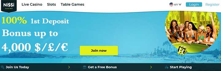 Nissi Online Casino bonus