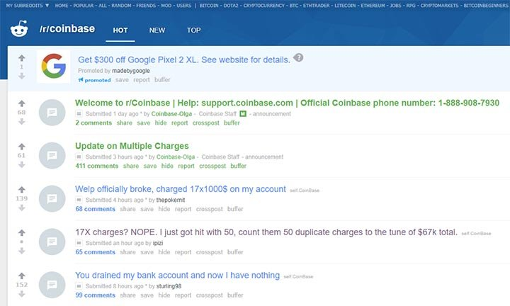 Coinbase Overcharge Thread on Reddit