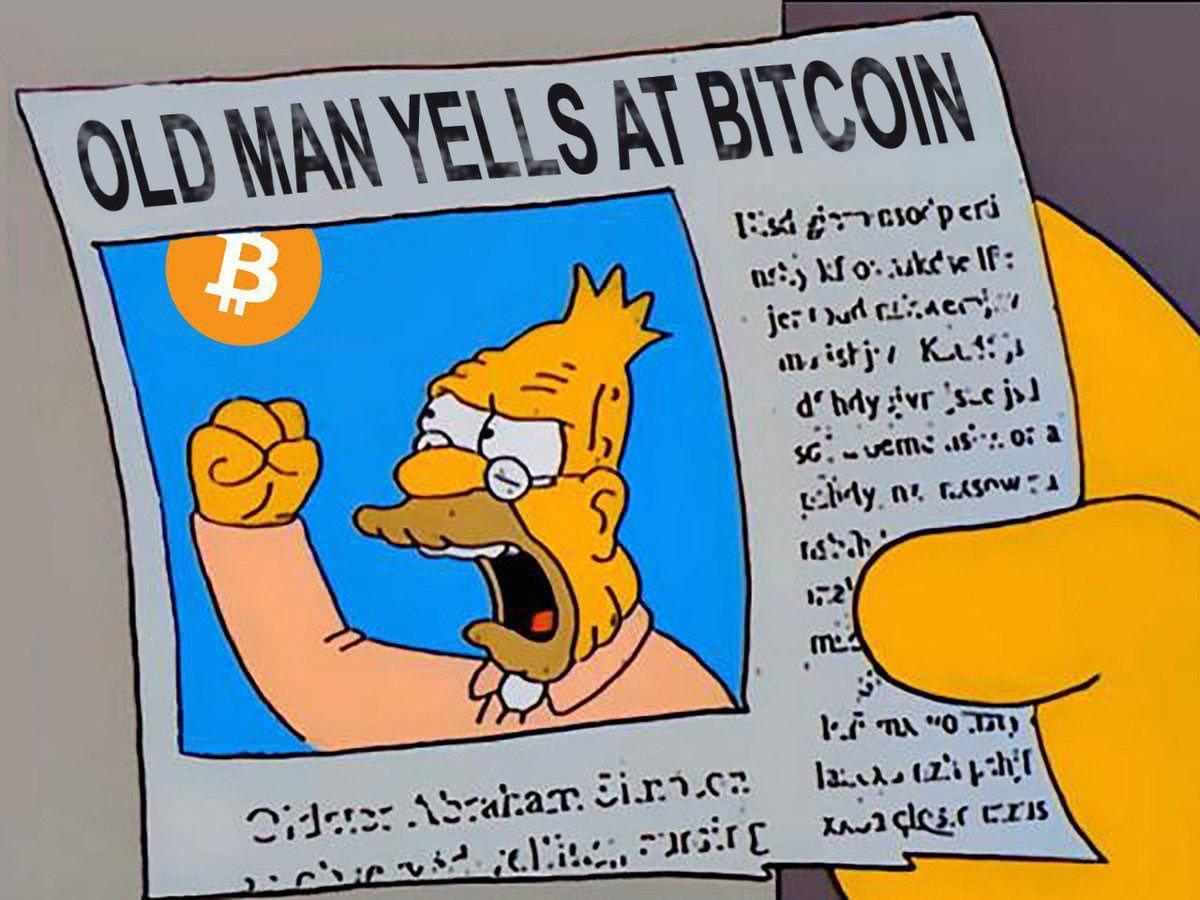 Old man yelling at Bitcoin