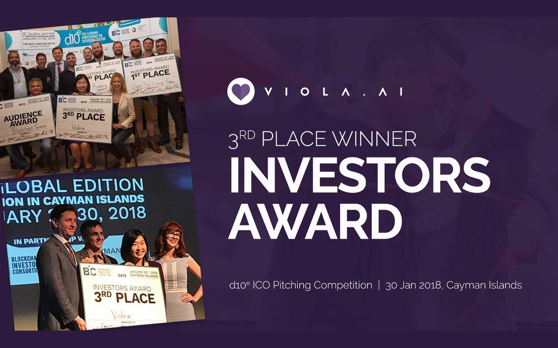 Viola.AI Wins Investor Award at d10e ICO Pitching Competition at Cayman Islands
