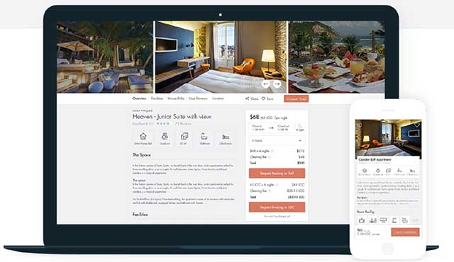 Booking accommodation with LockChain on laptop or phone is already functional. Courtesy of LockChain Ltd.