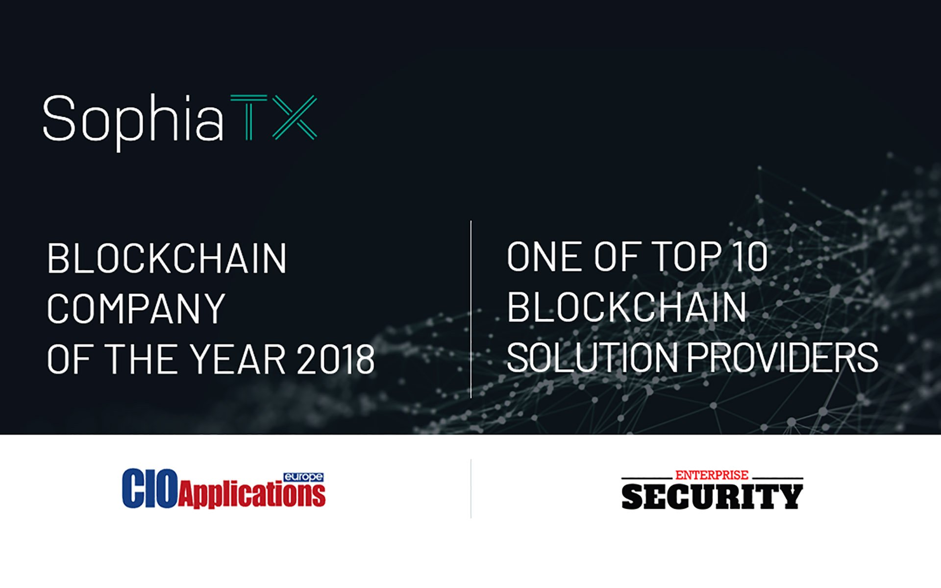 SophiaTX Named Blockchain Company of the Year