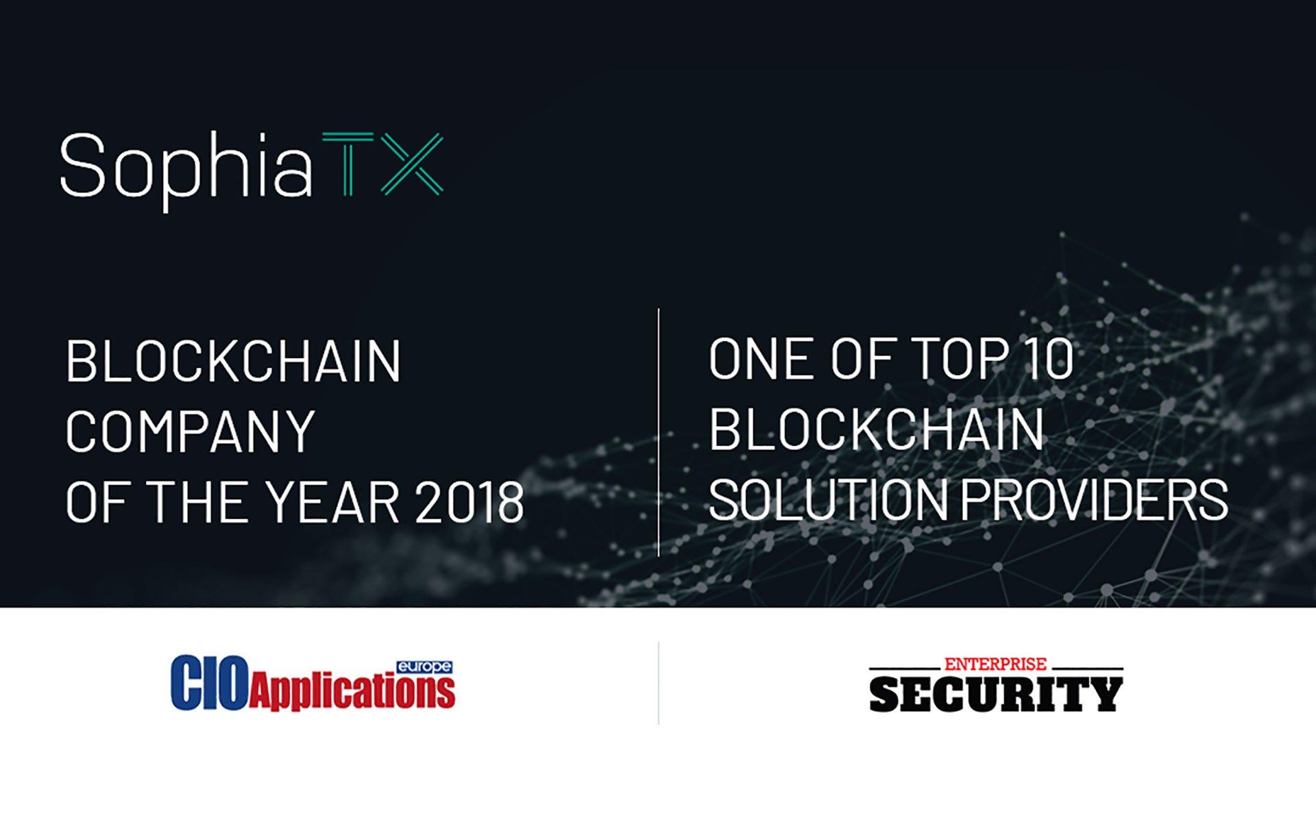SophiaTX Named Blockchain Company of the Year