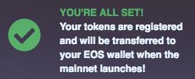 Registering EOS tokens - All Set!