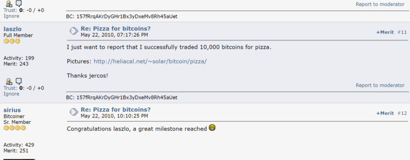 2 Pizzas for 10k Bitcoins
