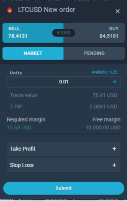 "Here, you can see that you'd have to choose whether you want to open a ""Buy"" or ""Sell"" position. You can choose the amount that you want to engage the market with, the trade value as well as the required margin."