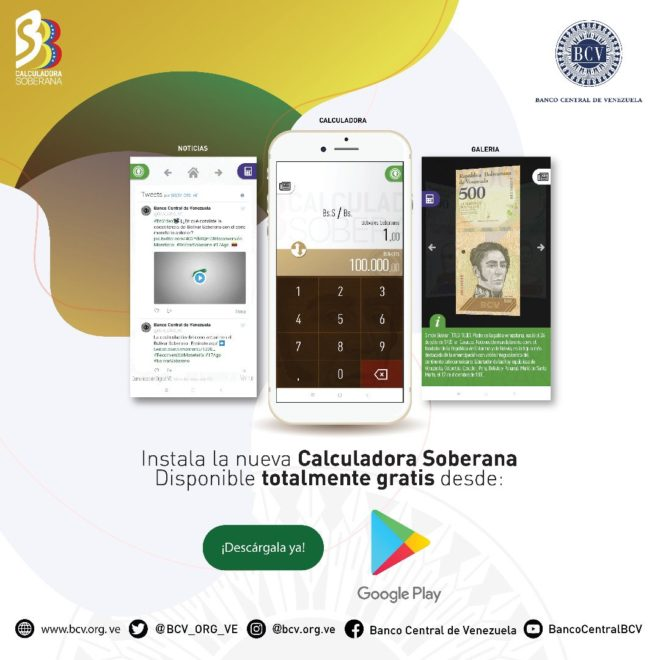 "Known as the Sovereign Calculator, the new application was touted by Venezuela's Central Bank as a ""tool for everyone."""