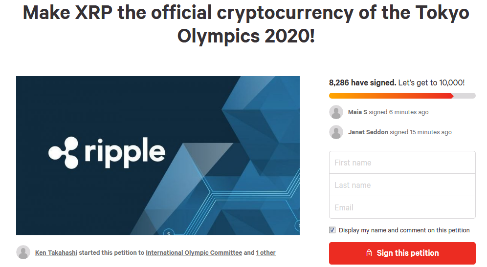 Petition to Make XRP the Official Cryptocurrency of Tokyo 2020 Olympics Garners 7,500 Signatures