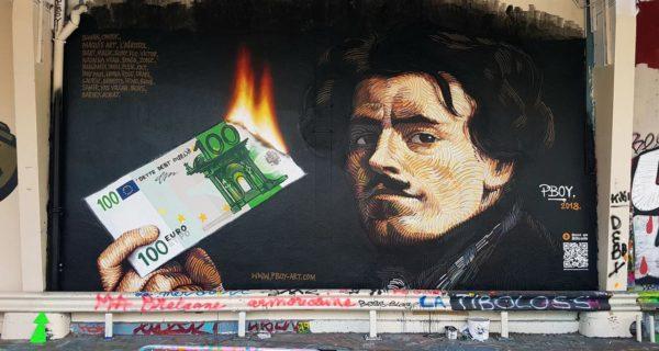 pboy bitcoin art paris protests