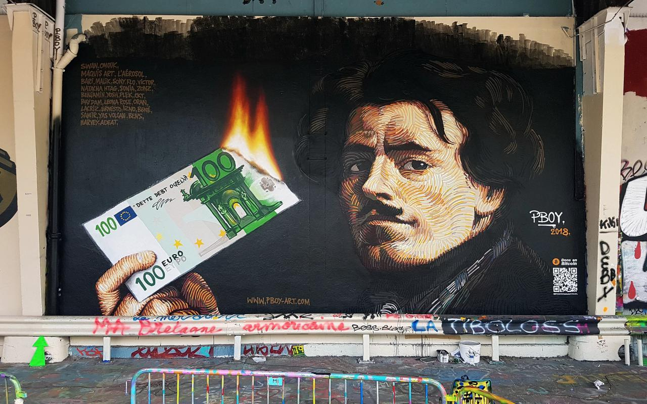 pboy bitcoin art paris protests