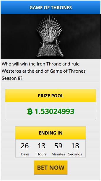 Делайте ставки в биткойнах на исход Игры престолов