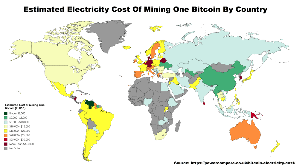 cheapest places to mine bitcoin
