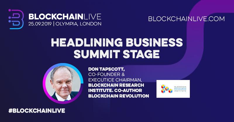 Blockchain Live 2019 Don Tapscott