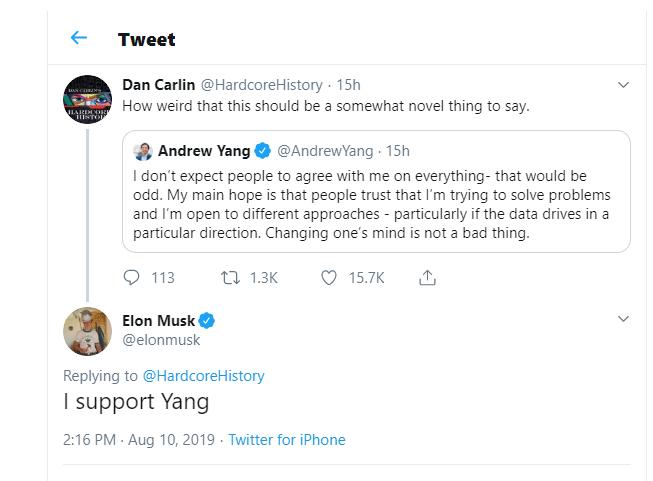 Elon Musk Sustains Pro-Bitcoin U.S. Presidential Prospect Andrew Yang 1