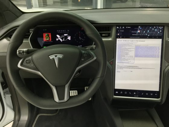 bitcoin node in tesla