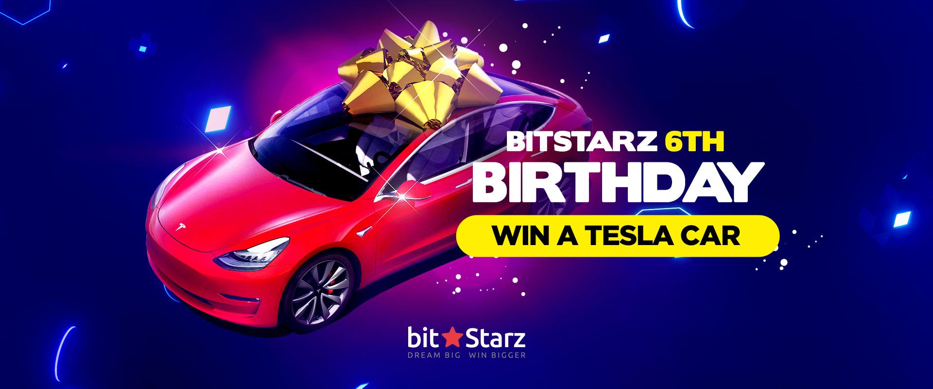 Celebrate BitStarz' Birthday and Win a Tesla Model 3!