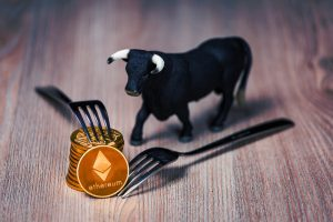 Ethereum coins with bull figure