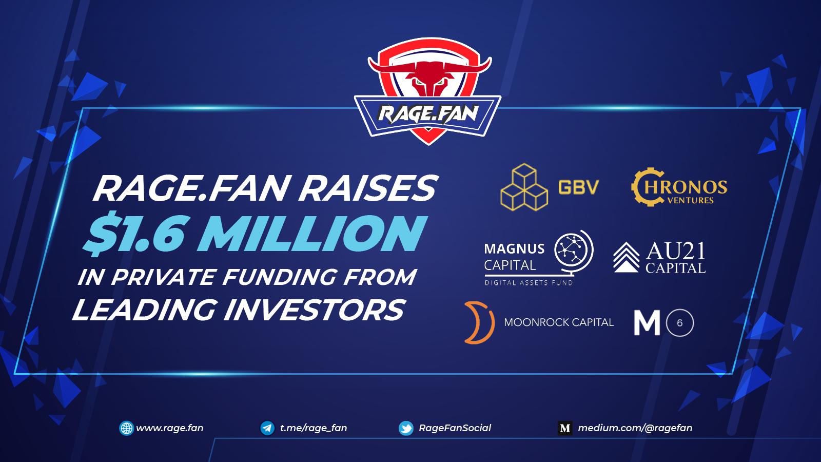 Rage.Fan, a Fan-first Fantasy Sports & uNFT Platform, Successfully Raises $1.6M From Leading Investors