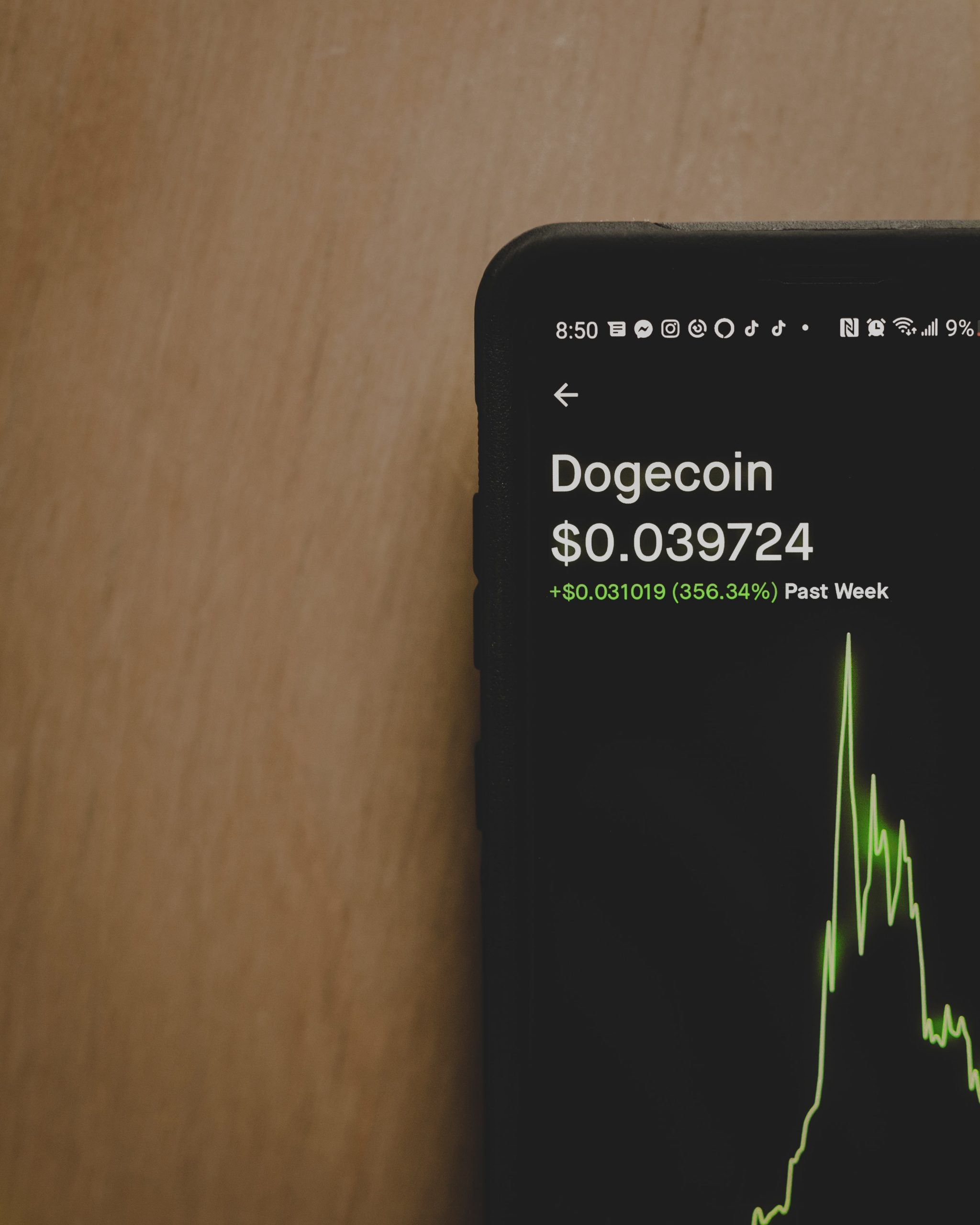 Phone showing Dogecoin chart