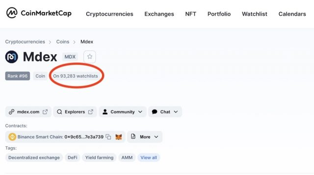 $MDX is on over 90,000 trader watchlists on Coinmarketcap